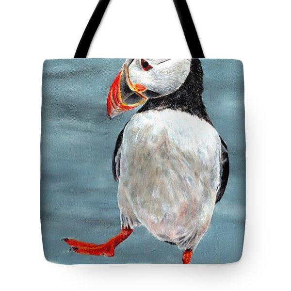 Dancing Puffin Tote Bag