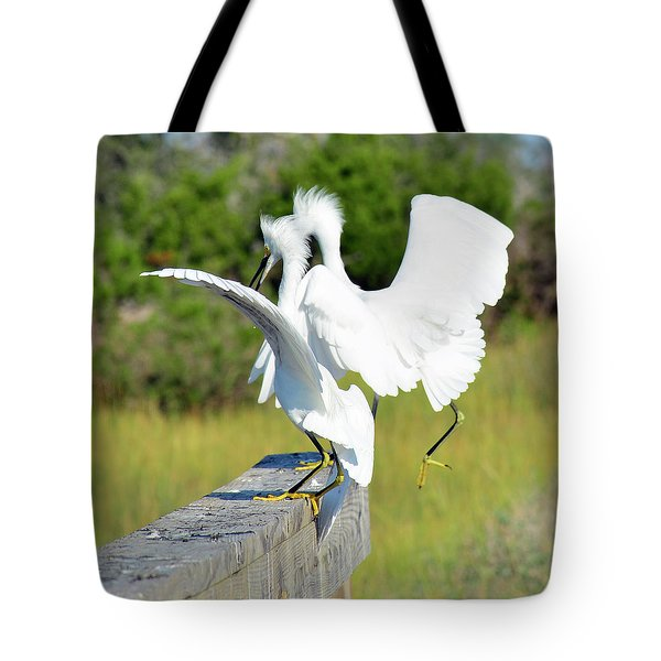 Dancing Snowy Egrets Tote Bag