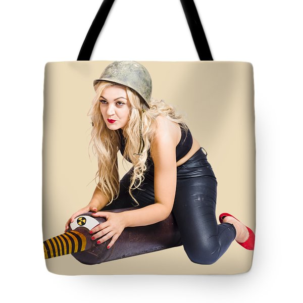 Danger Pin Up Girl Riding On Nuclear Bomb Tote Bag