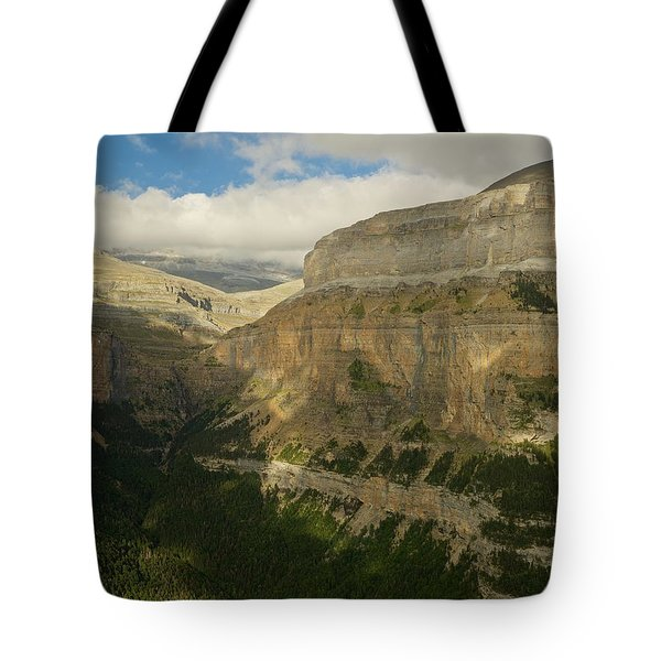 Tote Bag featuring the photograph Dappled Light In The Ordesa Valley by Stephen Taylor