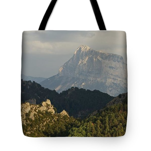 Tote Bag featuring the photograph Dappled Light On Pena Montanesa by Stephen Taylor