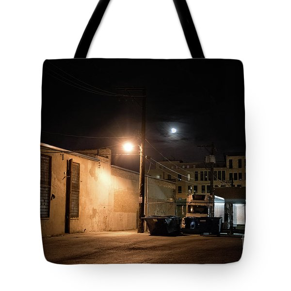 Dark Chicago City Alley At Night With The Moon Tote Bag