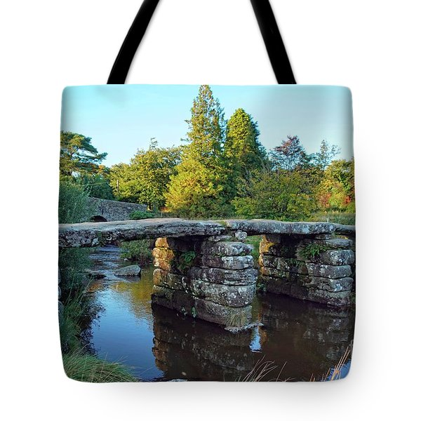 Tote Bag featuring the photograph Dartmoor Clapper Bridge by David Birchall