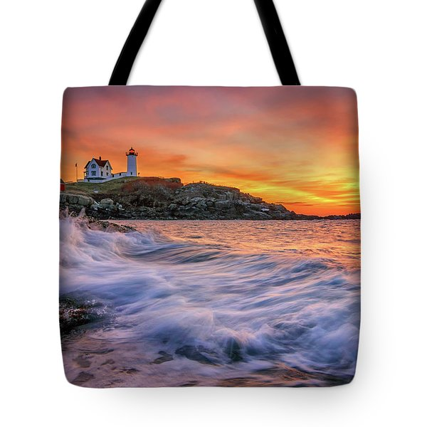 Dawn At Cape Neddick Lighthouse Tote Bag