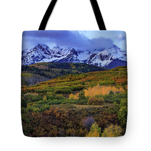 Dawn At The Dallas Divide Panoramic Tote Bag