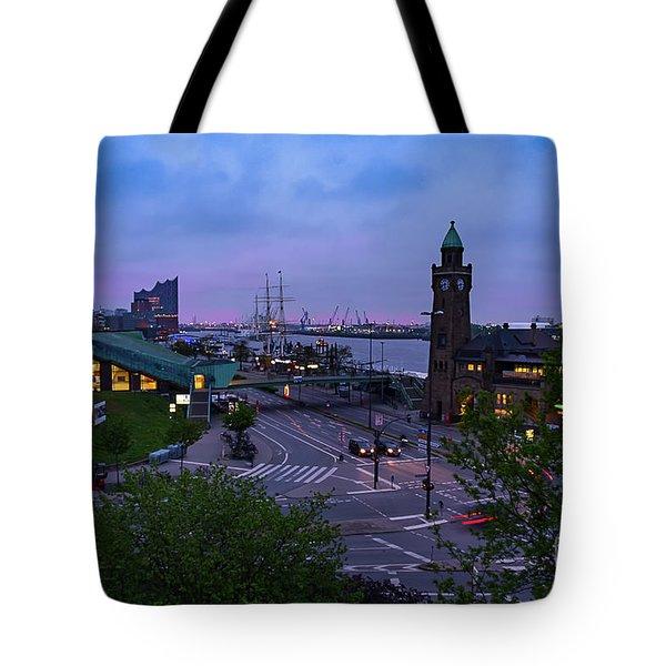 Dawn Over The Port And City Hamburg Panorama Tote Bag