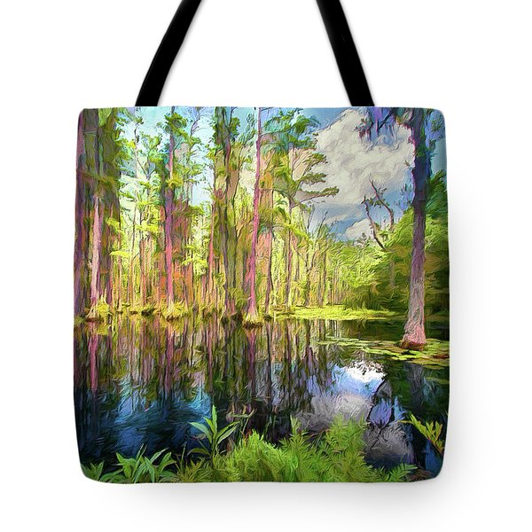 Dazzling Cypress Reflections Ap Tote Bag