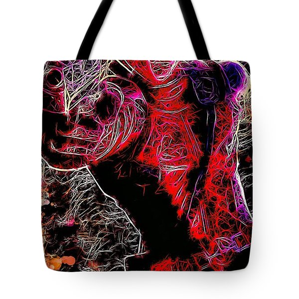 Tote Bag featuring the mixed media Deadpool by Matra Art