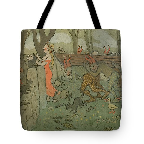 Tote Bag featuring the drawing Death Of Death by Ivar Arosenius