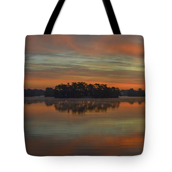 December Sunrise Over Spring Lake Tote Bag