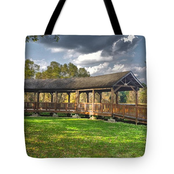 Deck At Pickerington Ponds Tote Bag