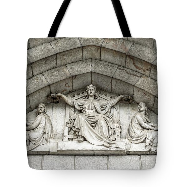 Tote Bag featuring the photograph Decorated Sculpture On Plymouth Guildhall Building by Jacek Wojnarowski