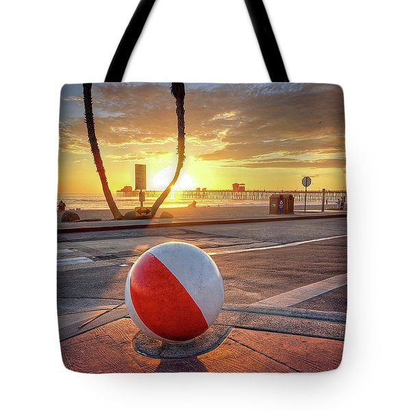 Decorative Beach Ball At Oceanside Pier Tote Bag
