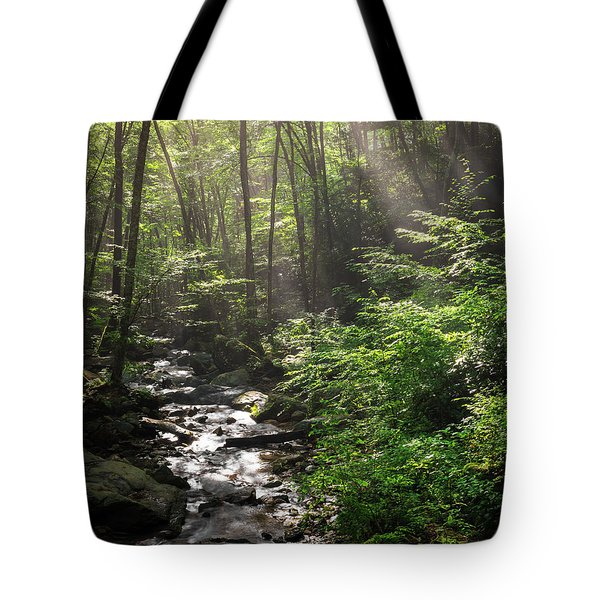 Deep In The Forrest - Sun Rays Tote Bag