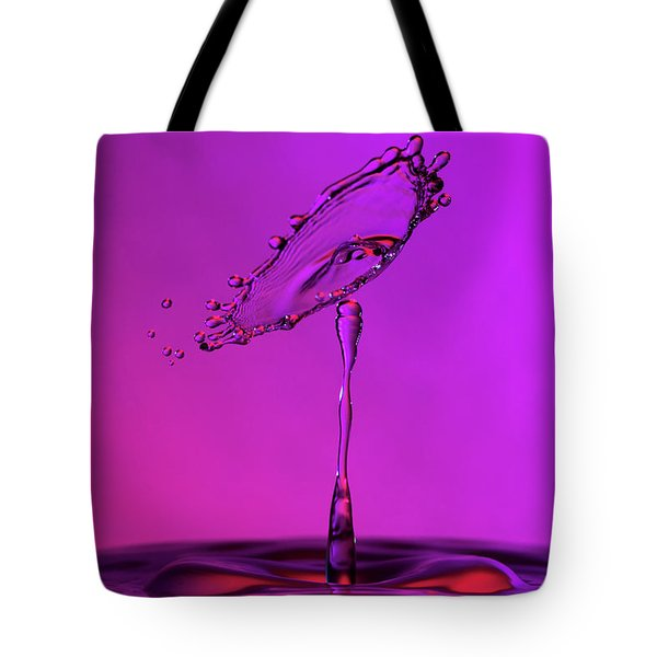 Tote Bag featuring the photograph Deep Purple Water Drop Collision by SR Green