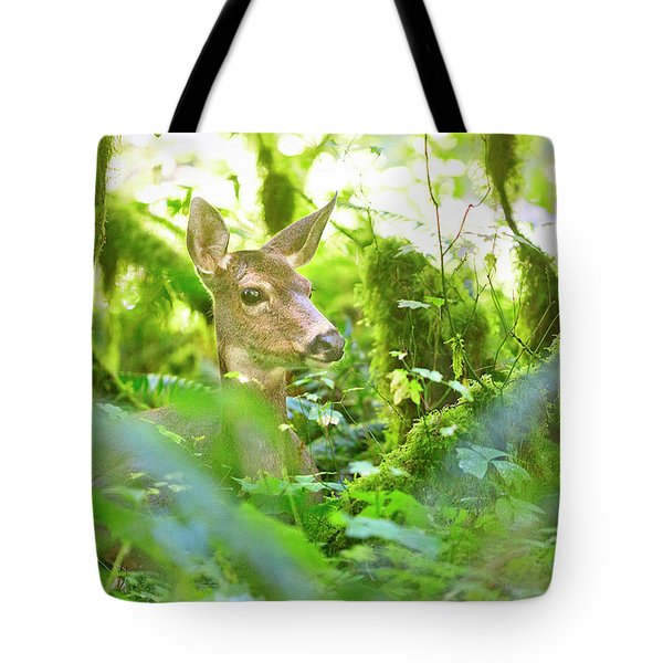 Deer In Rainforest 4 Tote Bag