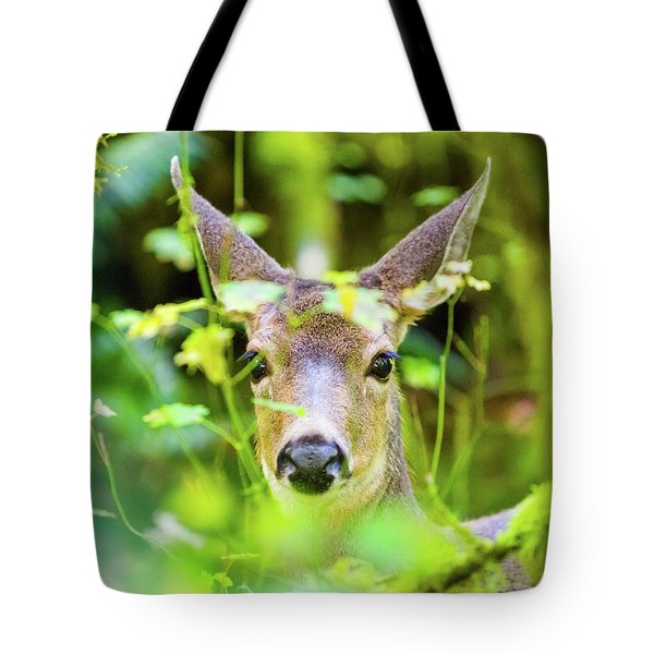Deer In Rainforest Tote Bag