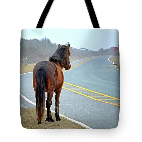 Tote Bag featuring the photograph Delegats's Pride Looking For Visitors To Assateague Island by Assateague Pony Photography