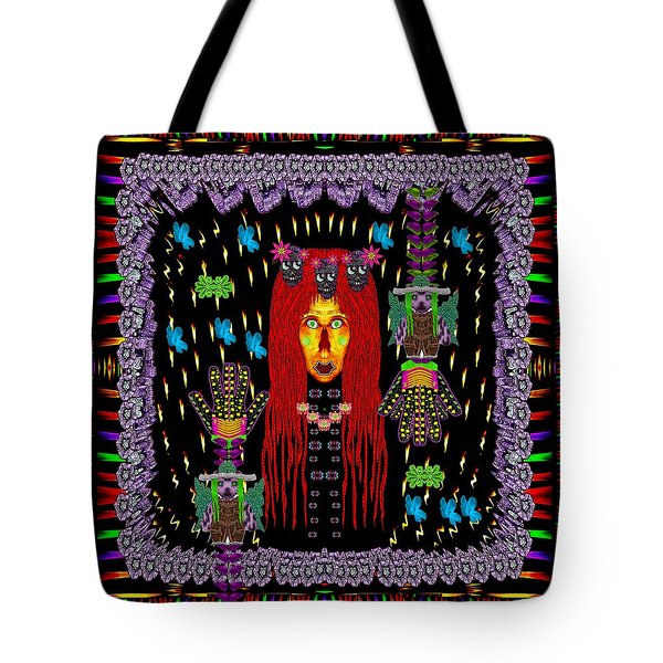 Demonic Madonna With Rose Skulls And Baby Bears With Hats Tote Bag