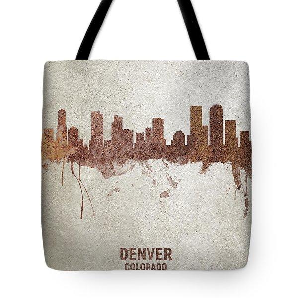 Denver Colorado Rust Skyline Tote Bag