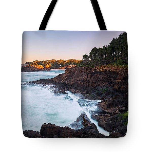 Tote Bag featuring the photograph Depoe Bay Sunrise by Whitney Goodey