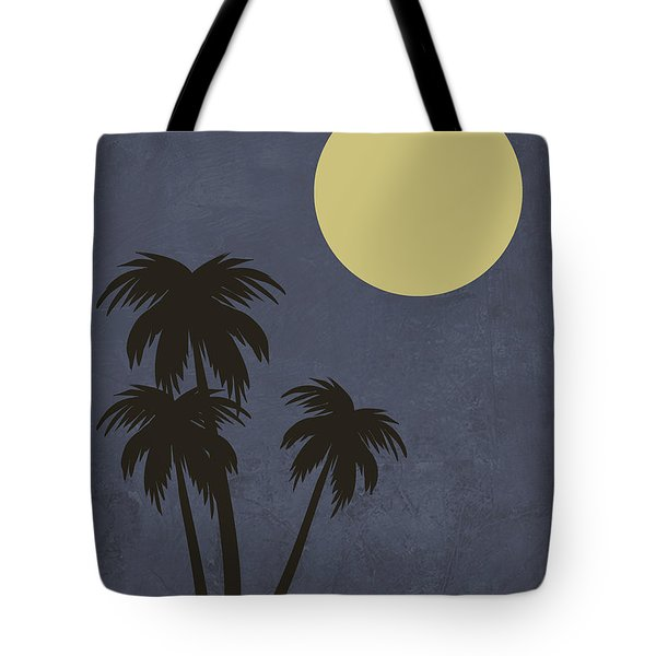 Desert Palm Trees And Yellow Moon Tote Bag