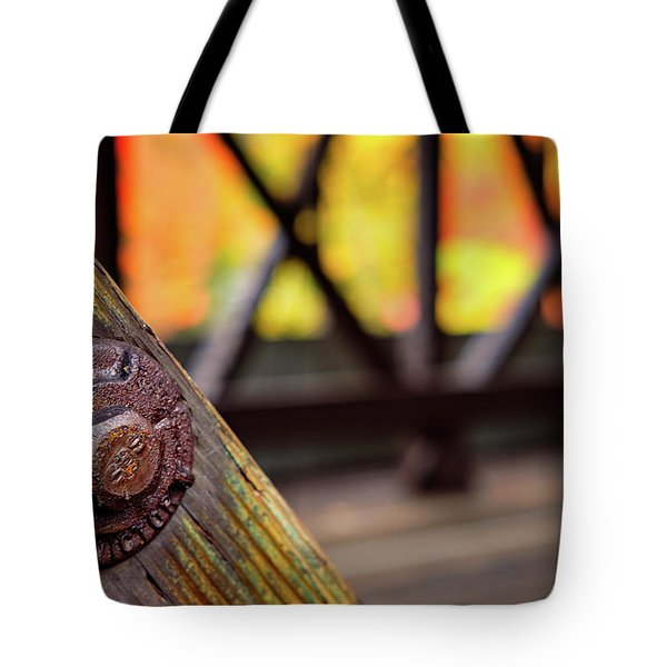 Details On A Covered Bridge Tote Bag