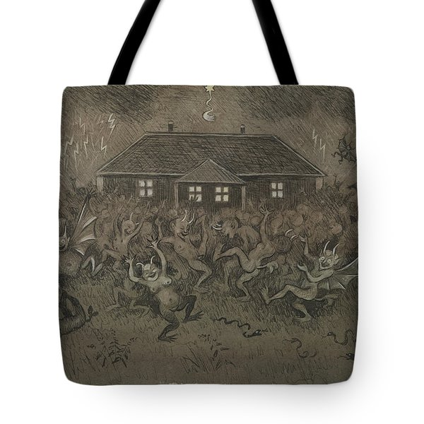 Tote Bag featuring the drawing Devil Hymn by Ivar Arosenius