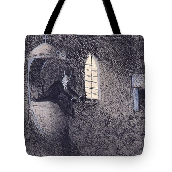 Tote Bag featuring the drawing Devil  by Ivar Arosenius