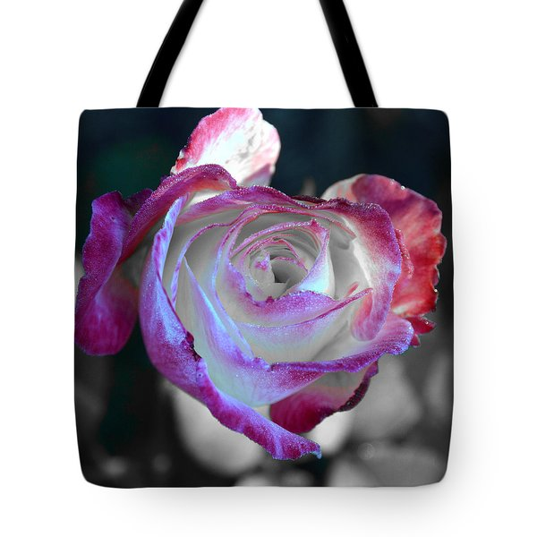 Tote Bag featuring the photograph Dewy Rose by SimplyCMB
