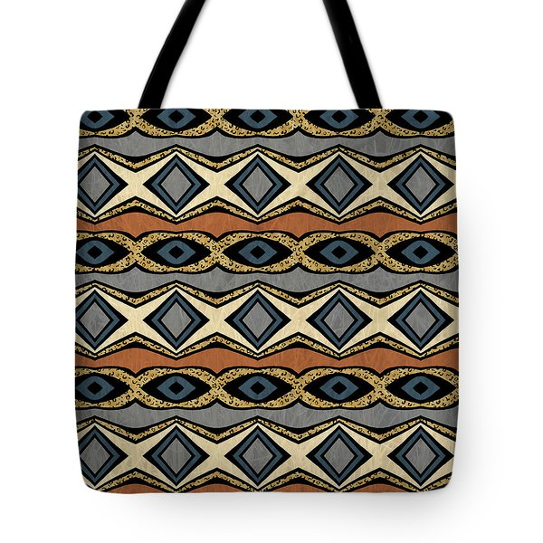 Diamond And Eye Motif With Leopard Accent Tote Bag
