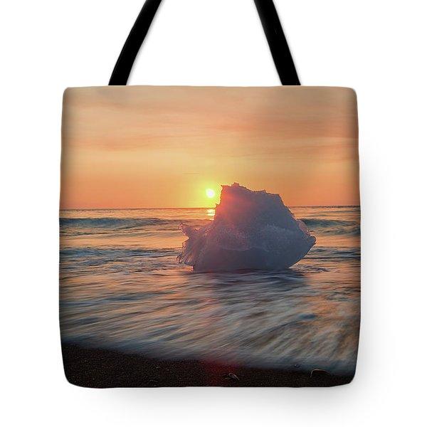 Diamond Beach Sunrise Iceland Tote Bag