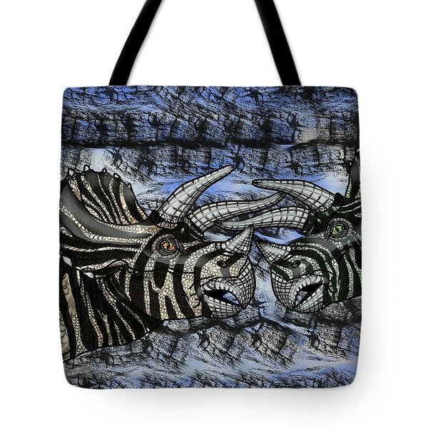 Dinosaur Triceratops Head On Battle Tote Bag