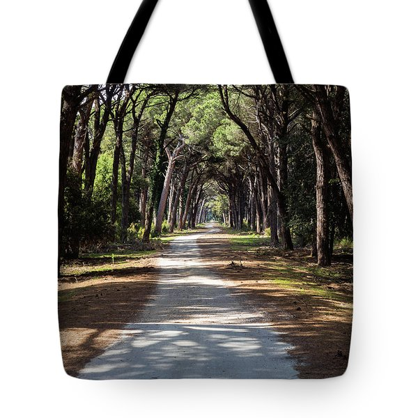 Dirt Pathway In A Mediterranean Pine Forest Tote Bag