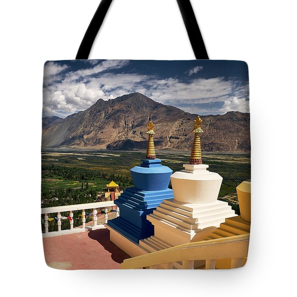 Tote Bag featuring the photograph Diskit Gompa by Whitney Goodey
