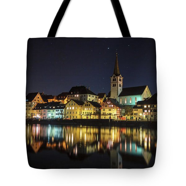 Tote Bag featuring the photograph Dissenhofen On The Rhine River by Bernd Laeschke