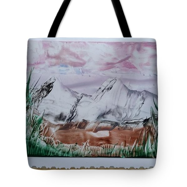 Distant Impressionistic Mountains Tote Bag