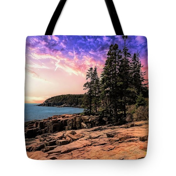 Distant View Of Otter Cliffs,acadia National Park,maine. Tote Bag