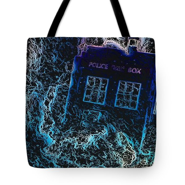 Tote Bag featuring the mixed media Doctor Who Tardis 3 by Al Matra