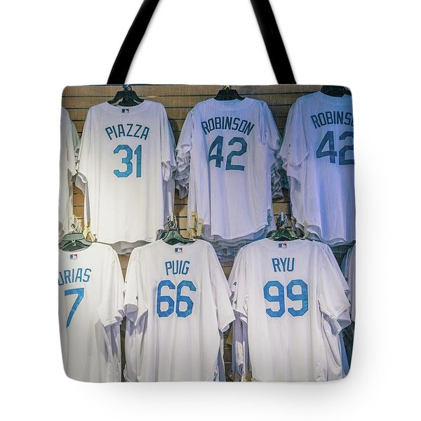 Tote Bag featuring the photograph Dodgers Wall Of Famers - Blue Vintage by Lynn Bauer