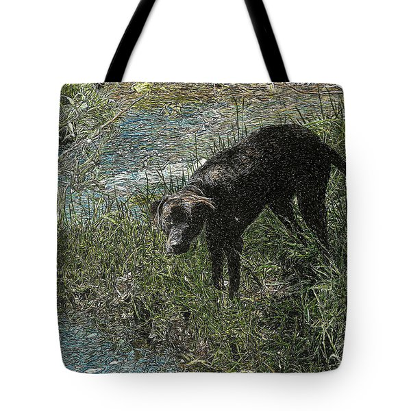 Dog By The River Bank Tote Bag