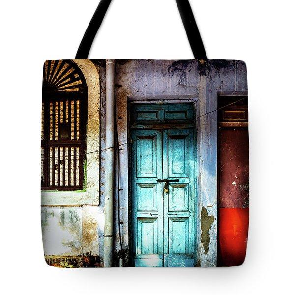 Doors Of India - Blue Door And Red Door Tote Bag
