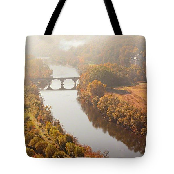 Dordogne River In The Mist Tote Bag