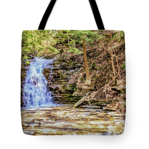 Double Cascade Waterfalls Tote Bag