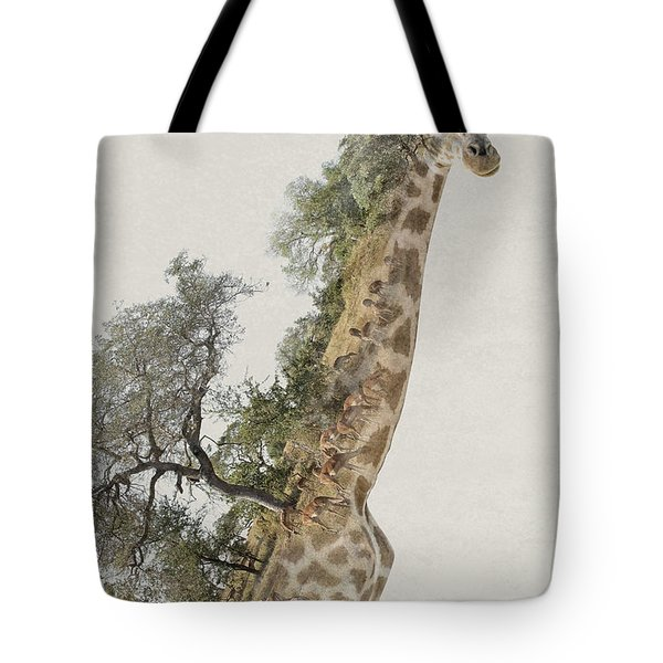 Double Exposure Giraffe Tote Bag