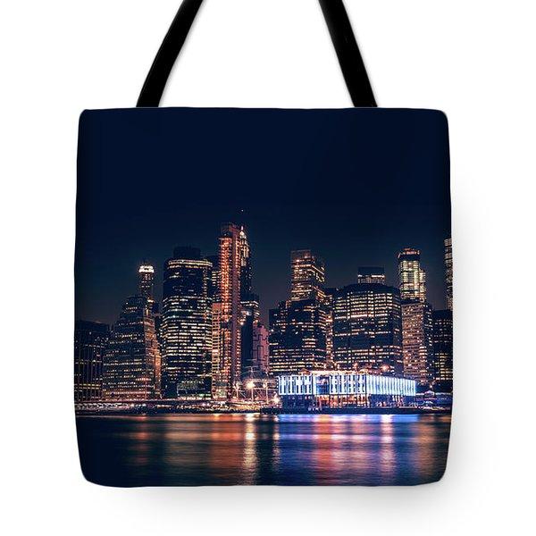 Downtown At Night Tote Bag