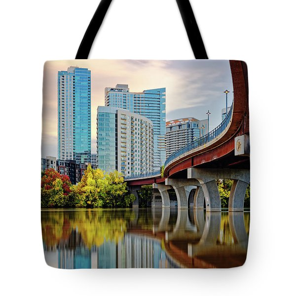 Downtown Austin Skyline From Underneath Pfluger Pedestrian Bridge - Lady Bird Lake - Austin Texas Tote Bag