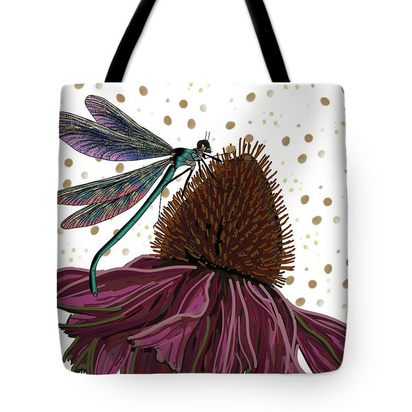 Dragon Fly And Echinacea Flower Tote Bag