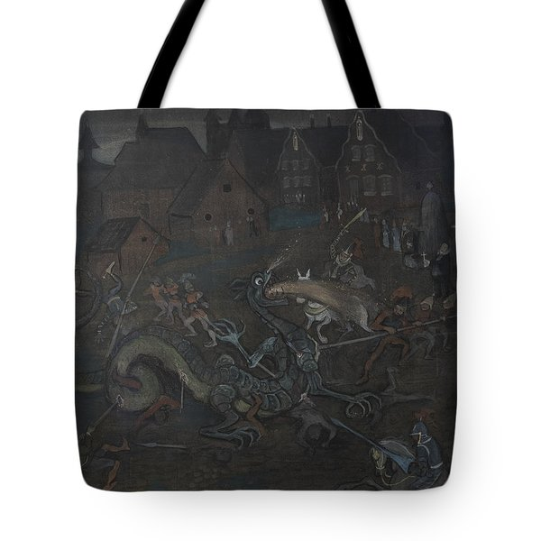 Tote Bag featuring the drawing Dragon  by Ivar Arosenius