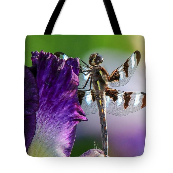 Dragonfly On Iris Tote Bag